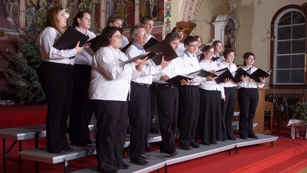 Adult church choir on standing risers