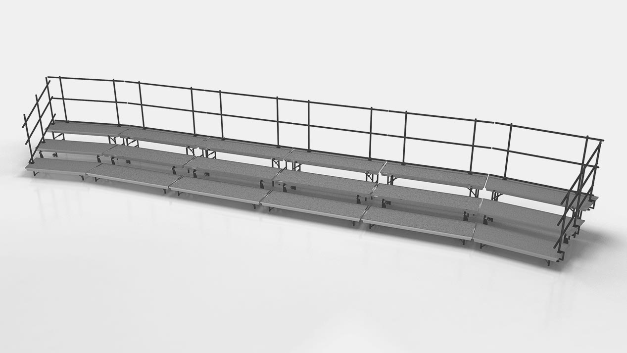 Standing choral risers combo layout with rails