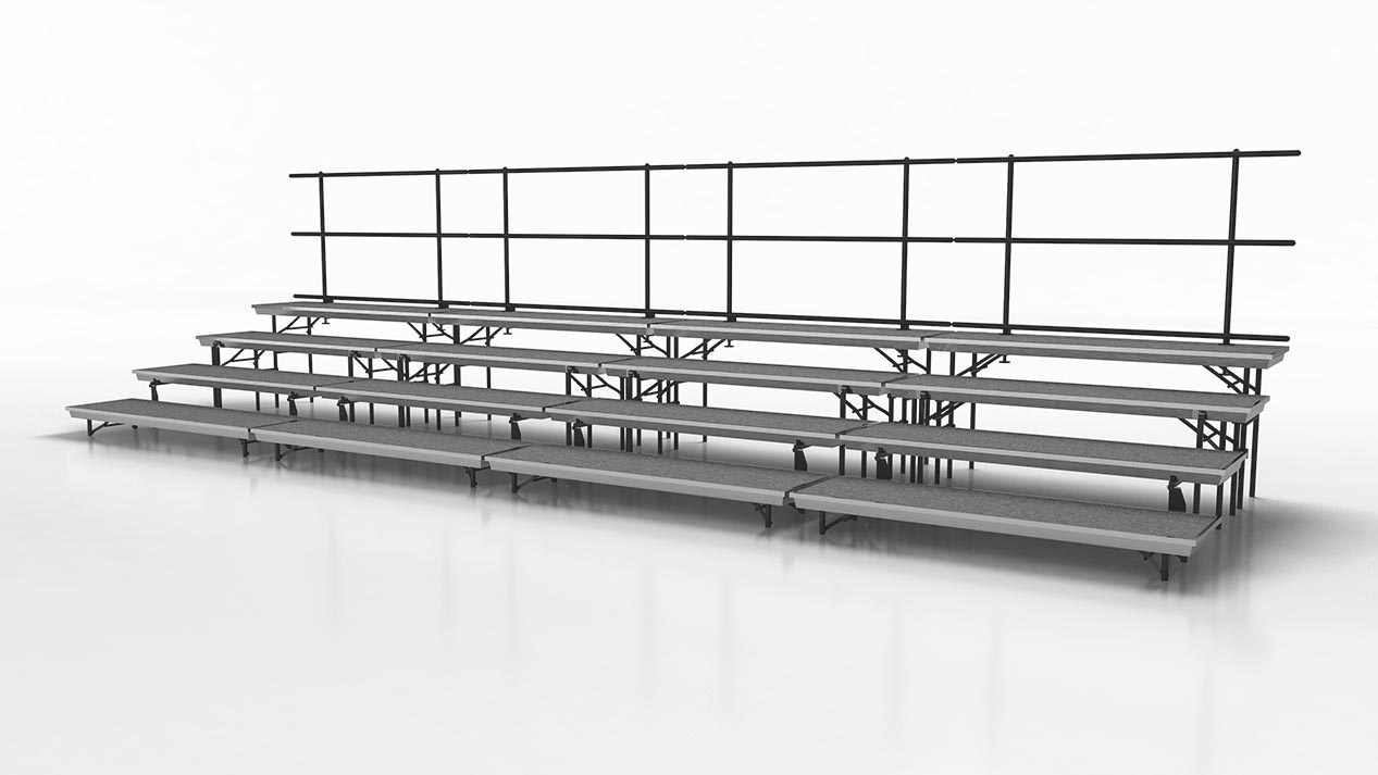 Standing choral risers with fourth step addition