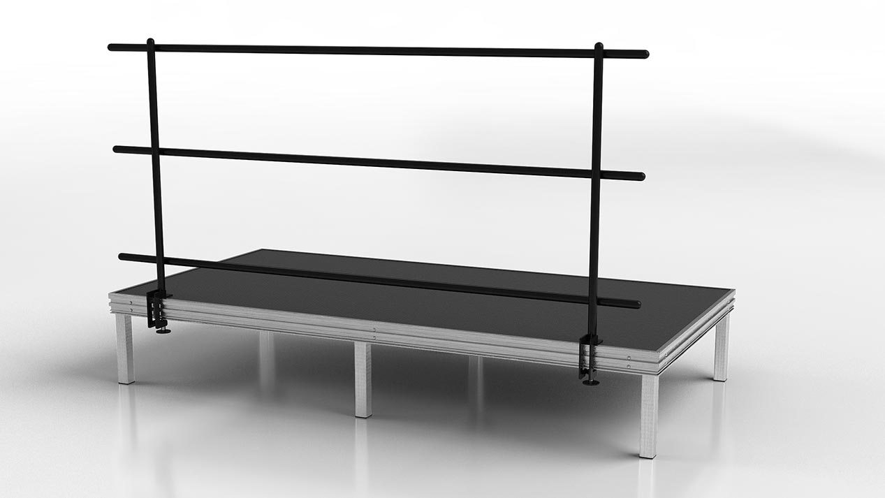 Safety railing for stages and risers