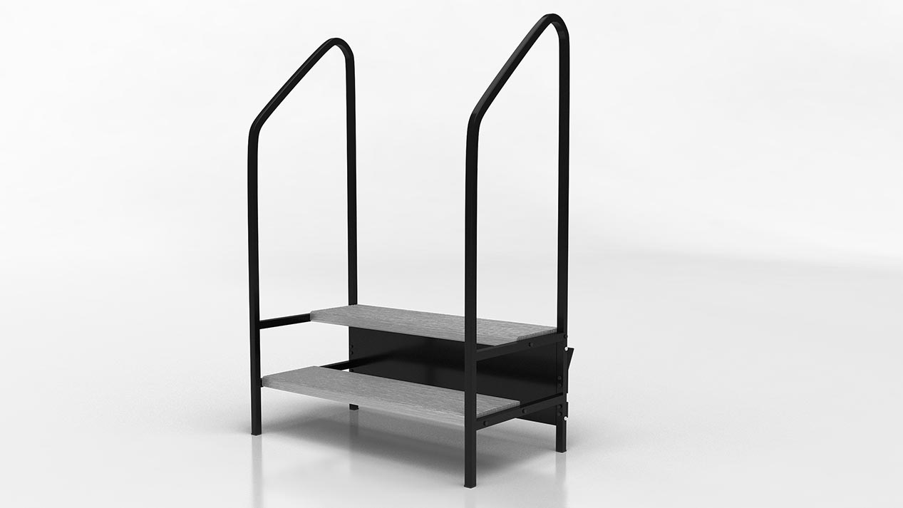 two step stairway with rails for stages and risers