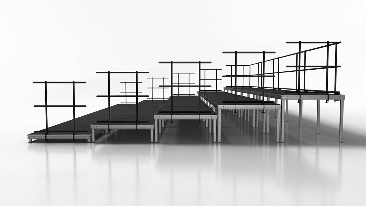 large seated band or audience risers side view