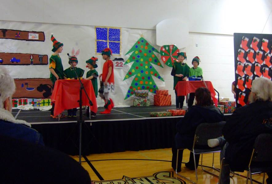 School Christmas concert stage