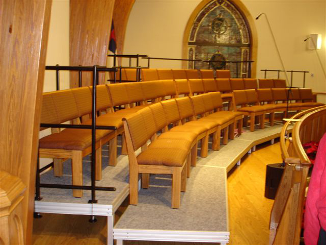 Tiered seated risers in church