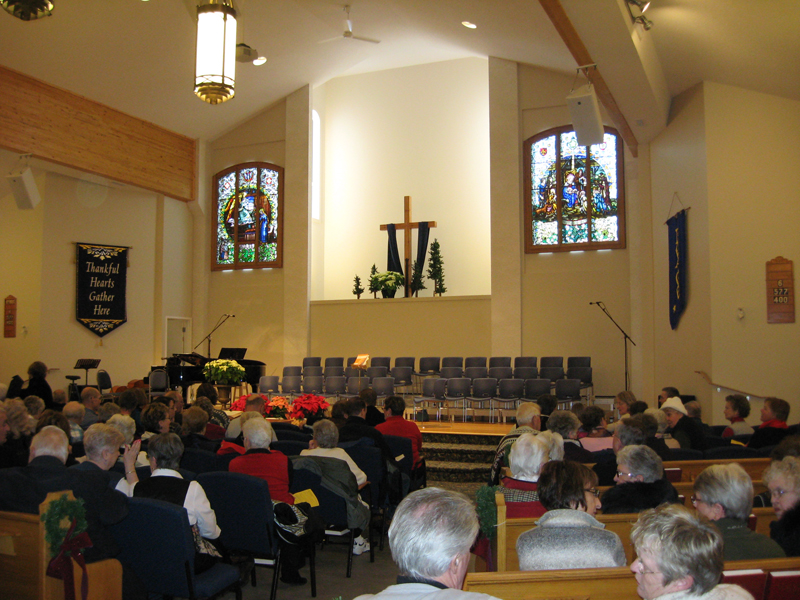 Seated choral risers in church